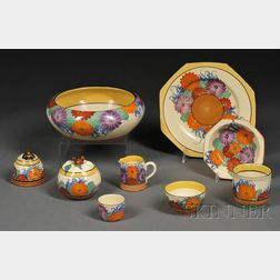 Nine Clarice Cliff Bizarre Ware Gayday Pattern Table Items