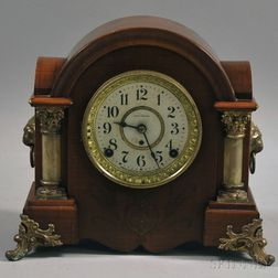 Seth Thomas Rosewood-veneer and Copper-mounted Dome-top Shelf Clock