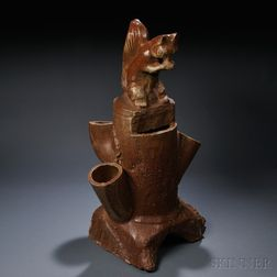 Large Squirrel on Stump Sewer-tile Pottery Planter