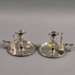 Pair of English Silver Chambersticks with Snuffers