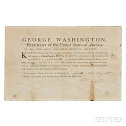 Washington, George (1732-1799) Document Signed as President, New York City, 4 August 1789.