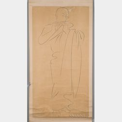 Hanging Scroll Depicting a Monk Playing the Flute