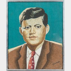 Needlework Picture of President John F. Kennedy