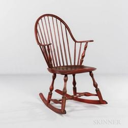 Red-painted Continuous-arm Bow-back Windsor Rocking Chair