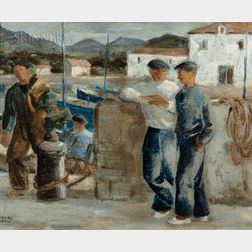 Ramiro Arrue (Spanish, 1892-1971)      Sketch of Basque Fishermen on the Docks