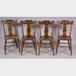 Set of Four Grain Painted and Decorated Side Chairs