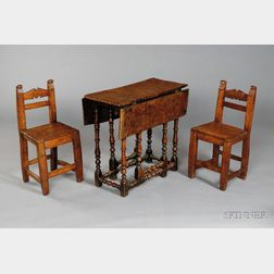 William and Mary Style Burl Walnut Diminutive Drop-leaf Table and a Pair of Chairs