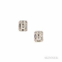 18kt White Gold and Diamond Earstuds