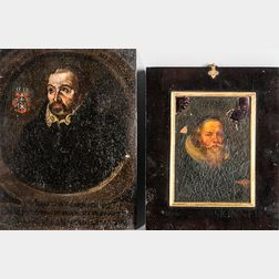 Dutch or German School, 16th/17th Century Style      Two Small Portraits of Men: Man with a Reddish Beard and White Ruff