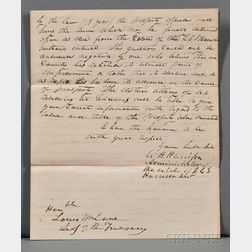 Harrison, William Henry (1773-1841) Autograph Letter Signed, 19 November 1832.