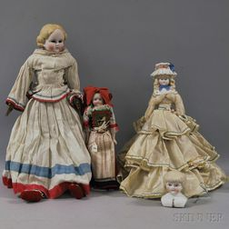 Three Parian-type or Tinted Bisque Dolls and a Doll Head