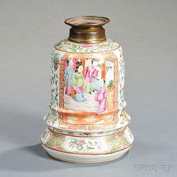 Chinese Export Porcelain Rose Medallion Kerosene Lamp