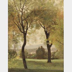 John Francis Murphy (American, 1853-1921)    Distant View Through Verdant Trees