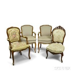 Three Louis XV-style Carved Walnut Upholstered Fauteuil and a Side Chair
