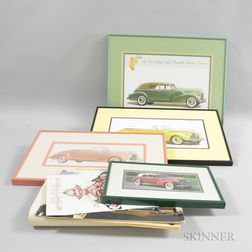 Three Framed 1940 Buick Phaeton Prints and a Photograph, and Five 1940s Pamphlets.     Estimate $20-200