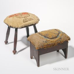 Two Upholstered Footstools