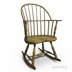 Yellow-painted Sack-back Windsor Rocking Chair