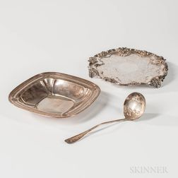 Dominick & Haff Sterling Silver Dish and a Silver-plated Salver and Ladle