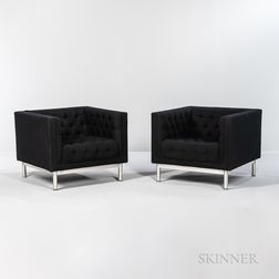 Two Jack Cartwright Tufted Club Chairs