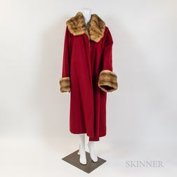 Full-length Red Cashmere Coat with Pale Mink Lining