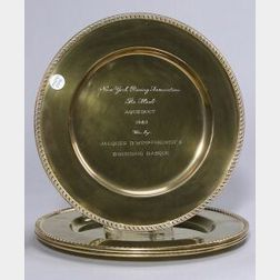 Four English Gold Washed Silver Trophy Chargers