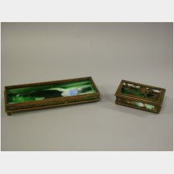 Tiffany Studios Bronze and Green Slag Glass Grapevine Pattern Desk Box and Pine   Needle Pattern Tray