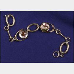 14kt Bi-color Gold and Reverse Painted Crystal Bracelet