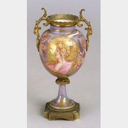 Gilt Metal-mounted Art Nouveau Style Porcelain Vase