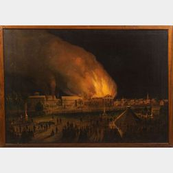 "J.P. Fisk, (Boston, ac. late 19th century),     Painting of the ""Union Wadding Co."" Fire, Pawtucket, Rhode Island, 1870"