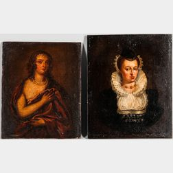 Dutch School, 16th/17th Century Style, Two Portraits of Women: After Anthony Van Dyck (Flemish, 1599-1641), Margaret Lemon, the Artist