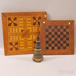 Two Parquetry Game Boards and a Child's Wooden Stacking Toy