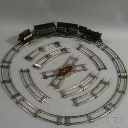 Four Painted Pressed Metal Toy Train Cars with Tracks