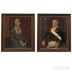 James Brown (Massachusetts, act. 1806-1808), Pair of Portraits of General William Towner and His Wife Lurana Chadwick Towner, of Willia