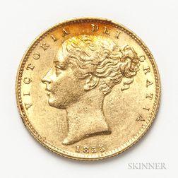 1855 British Gold Sovereign.     Estimate $300-500