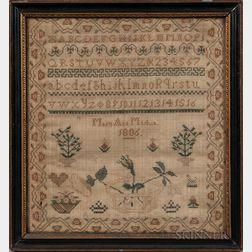 """Needlework Sampler """"Mary Ann Martin,"""""""