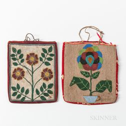 Two Plateau Beaded Floral Cloth Bags