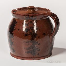 Manganese-decorated Redware Stew Pot