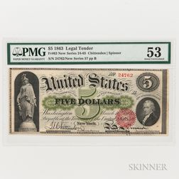 1863 $5 Legal Tender Note, Fr. 63, PMG About Uncirculated 53