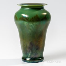 Pulled Feather Vase Attributed to Tiffany Studios