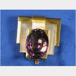 Art Moderne 18kt Gold, Rock Crystal and Amethyst Dress Clip