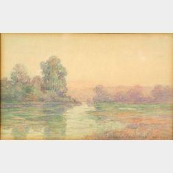 Albert Prentice Button (American, b. 1872)    Dusk/A Lake View