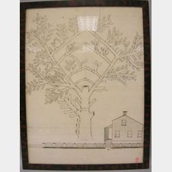 Framed American Country Manuscript Family Tree with Drawing