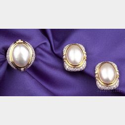 14kt Gold, Cultured Pearl, and Diamond Earclips, Mikimoto