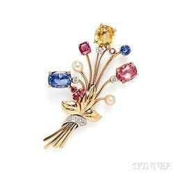 14kt Gold, Sapphire, and Diamond Brooch, Raymond Yard