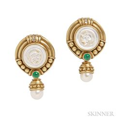 18kt Gold, Mother-of-pearl, Cultured Pearl, and Emerald Earclips, Judith Ripka