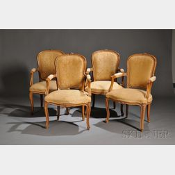 Eight Louis XV-style Upholstered Walnut Fauteuils