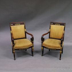 Pair of French Empire Carved Mahogany Ormolu-mounted Fauteuil