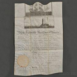 Madison, James (1751-1836) Signed Parchment Document, Ship's Passport, 27 June 1810.