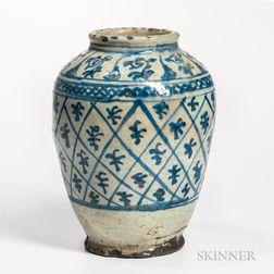 Fritware Vase with Underglaze Blue Decoration