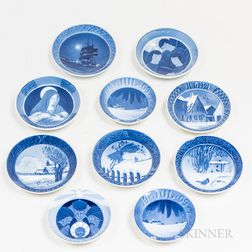 Ten Early Royal Copenhagen Christmas Plates